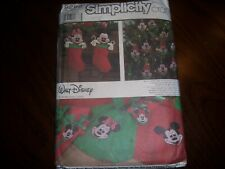 Vtg Simplicity Pattern 8292 Mickey Mouse Christmas Ornament Tree Skirt Stocking