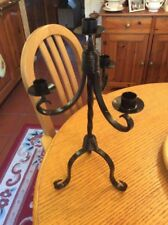 A BLACK WROUGHT IRON 4 ARM CANDELABRA # BR