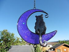 MYSTIC BACK CAT ON PURPLE CRESCENT MOON ~ WIND CHIME ~ SUNCATCHER ~ PAGAN/WICCAN