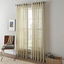 "Shimmer Sheer Back Tab and Rod Pocket Curtain Panel, Linen color, 84"" length"