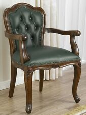 Chair Josephine English style Office with Armrest Walnut Green Faux Leather