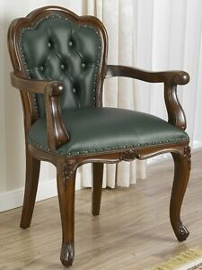 Office chair with armrests Josephine English style walnut faux leather green