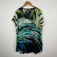 TS Taking Shape Womens Dress 20 Plus Multicoloured Abstract Short Sleeve Sheer