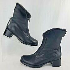 Blondo Size 7.5 Boots Women's Ankle Black Leather Weatherproof Faux Fur Zip