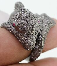 Dolphin Shape 925 Sterling Silver Victorian Rose cut Diamond Red Ruby Ring