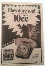 TEN CC How Dare You Tour 1976 UK Poster size Press ADVERT 16x12 inches