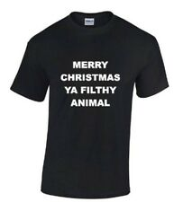MERRY CHRISTMAS YA FILTHY ANIMAL T SHIRT Red, Black or White Funny (S 2XL)