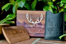 Wood Beard Comb & Leather case - Perfect for Oils & balms fine/coarse tooth S&H