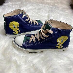 Vintage Looney Tunes Sz 7 Tweety Bird Canvas High Top Shoes Sneakers Adult 1993