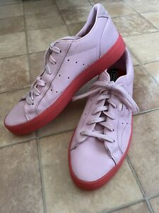 Rare Adidas Sleek Pink Leather Trainers, Size 8 (EU 42), Very Good Condition