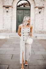 8cf25a0c07e TOPSHOP Beige HORN BUTTON STRIPED JUMPSUIT. UK 6. TIE WAIST ALL IN ONE.