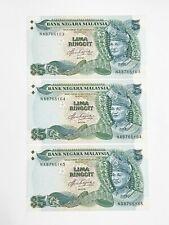 Malaysia, Bank Negara, 20 Ringgit KNB27a-e ND (1982-84) # NA 876 6163-5  Running