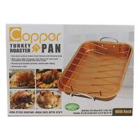 Non Stick Copper Turkey Chicken Roaster Pan - As Seen On TV
