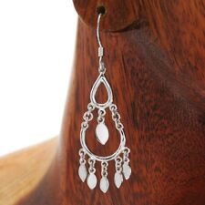 925 Sterling Silver Dangling Tear Drops with Flat Beads Hanging Earrings