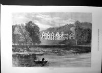 Original Old Antique Print Abbotsford View From River Sir Walter Scott 1871