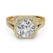 Gold Engagement Wedding Ring Size 7 6 1.40 Ct Round Cut Diamond 14K Solid Yellow