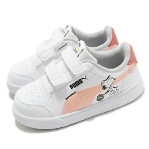 Puma Peanuts Shuffle V INF Snoopy White Coral Black TD Toddler Infant 375741-02