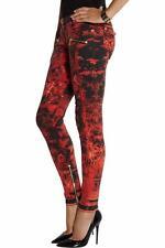 Balmain Printed Red Skinny jeans FR36 UK8 NEW