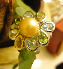 GOLDEN SOUTH SEA PEARL~ 8mm PERFECT ROUND PEARL & GEN. GEMSTONE ~925 SS/ZS7~WOW