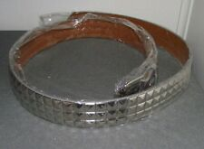 NWOT HOT TOPIC SILVER PYRAMID STUDDED LEATHER BELT L 38-40 GOTH PUNK