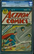 Action Comics 15 CGC 4.0 Golden Age Key DC Comic 5th Superman Cover Ever L@@K!