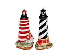 """Black Striped and Red Striped Lighthouse Salt and Pepper Shakers 4"""" tall"""