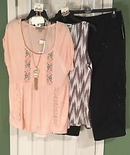 New American Vintage & MilkyWay Med Tops Style&Co 12 Cargo Capris - Free Jewelry