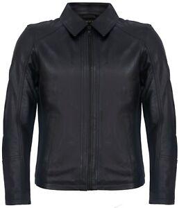 Men's Smart Classic Black Leather Harrington Biker Jacket