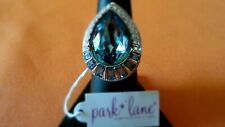 """Park Lane """"Hamptons"""" Ring S-8 Aquamarine Austrian Crystals & Aurora Borealis New"""