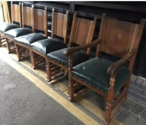 6 Large Antique Look Dining Chairs Blue Leather Seats 1 carver