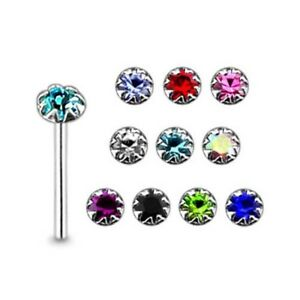 10 Pieces 22 G 9 mm 925 Sterling Silver 2 mm Round Jeweled Nose Straight Stud