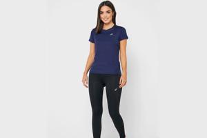 Asics Silver SS Top Peacoat Women's Blue Running Sport Wmns T-shirt 2012A029-408