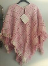 BOYNE VALLEY WEAVERS Women's Pink Plaid Handcrafted In Ireland Poncho one size