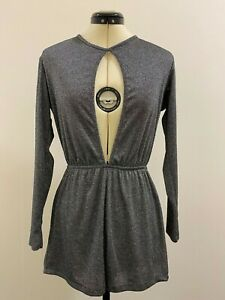 Silver metallic stretch Pull&Bear Playsuit cut out detail front & rear Size M