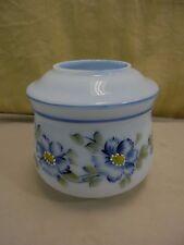 Vintage Hand Painted Milk Glass Lamp Shade Blue Daisy Flowers Hurricane