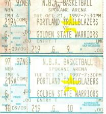 NBA Game Trailblazers vs Warriors Ticket Stubs Oct. 21, 1997 Spokane Arena