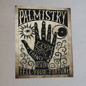Palmistry Print Wall Art Fortune Gift Gothic Home Decor Occult Witch Mystical