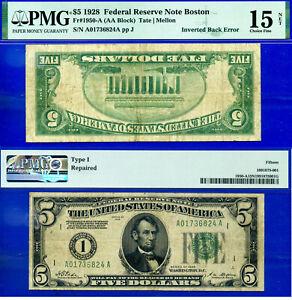 Error Note - 1928 $5 FRN (( Inverted Back Error )) PMG 15 # A01736824A