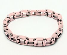 Rose Bracelet Stainless Steel Link 8.50 Inches 10mm Fashion Jewelry Bangle