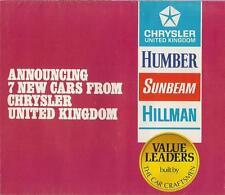 1970 CHRYSLER HUMBER SUNBEAM AVENGER FOLD OUT  BROCHURE