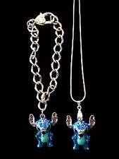 "Disney 3-D Stitch 18"" Necklace & Bracelet"