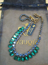 "NEW Sapphire Blue Emerald Cut Green Crystal Rhinestone Sorrelli Necklace 16-20"""