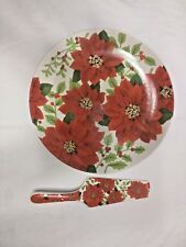 Christmas Holiday poinsettia floral 12' Cake Serving Plate & Serving Spatula
