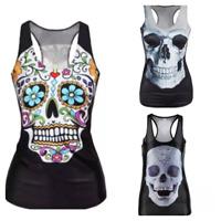 T-shirt Tee Goth Day of the Dead Womens Teens Ladies Black Skull Tshirt Crystal