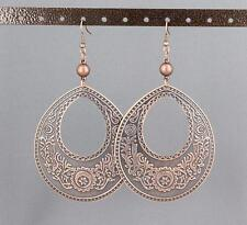 "Copper big huge earrings medallion disc stamped textured pattern 4.25"" long lite"