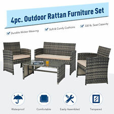 4pc Wicker Patio Furniture Set with Outdoor Sofa 2 Chairs & Table Charcoal Beige