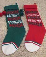"Lot of 2 17"" Knit Christmas Stockings Grandpa Grandma Green Red White"