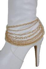 Women Gold Metal Chain Boot Bracelet Western Shoe Charm Jewelry Multi 7 Strand
