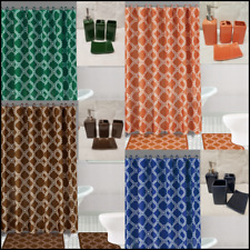 19Pc Bathroom Bath Rugs Mats Shower Curtain And Solid Ceramic Accessories Color