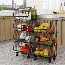 Metal Wire Stackable Fruit Vegetable Basket Rack on Wheels Kitchen Storage Shelf